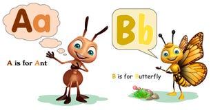 Μυρμήγκι και πεταλούδα με Alphabate Στοκ φωτογραφία με δικαίωμα ελεύθερης χρήσης