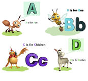 Μυρμήγκι, μέλισσα, Caw και σκυλί με Alphabate Στοκ Εικόνα