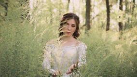 Μυστήρια νεράιδα με τη σκοτεινή κυματιστή τρίχα και φυσική σύνθεση σε ένα άσπρο πολυτελές ελαφρύ εκλεκτής ποιότητας φόρεμα με ένα απόθεμα βίντεο
