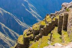 Μυστήρια πόλη - Machu Picchu, Περού, Νότια Αμερική. Οι καταστροφές Incan. Παράδειγμα της polygonal τεκτονικής Στοκ Εικόνα