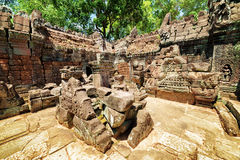 Μυστήριες καταστροφές του αρχαίου ναού SOM TA σε Angkor, Καμπότζη Στοκ Εικόνες