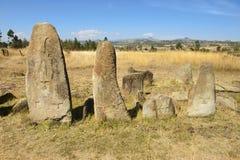Μυστήριοι megalithic στυλοβάτες Tiya, περιοχή παγκόσμιων κληρονομιών της ΟΥΝΕΣΚΟ, Αιθιοπία στοκ εικόνα