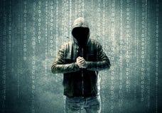 0 μυστήριος χάκερ με τους αριθμούς Στοκ Φωτογραφίες