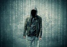 0 μυστήριος χάκερ με τους αριθμούς Στοκ φωτογραφίες με δικαίωμα ελεύθερης χρήσης