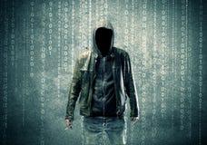 0 μυστήριος χάκερ με τους αριθμούς Στοκ Φωτογραφία