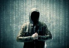 0 μυστήριος χάκερ με τους αριθμούς Στοκ Εικόνες