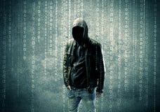0 μυστήριος χάκερ με τους αριθμούς Στοκ φωτογραφία με δικαίωμα ελεύθερης χρήσης