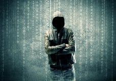 0 μυστήριος χάκερ με τους αριθμούς Στοκ εικόνα με δικαίωμα ελεύθερης χρήσης