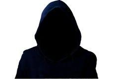 Μυστήριο, άγνωστο πρόσωπο στην κουκούλα Κίνδυνος στο σκοτάδι με το ψαλίδισμα της πορείας στοκ εικόνα με δικαίωμα ελεύθερης χρήσης