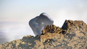 Μυστήριο επιπλέον αντικείμενο, UFO πέρα από το τοπίο βουνών τρισδιάστατη απόδοση, άνευ ραφής ζωτικότητα βρόχων φιλμ μικρού μήκους
