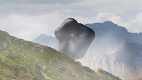Μυστήριο επιπλέον αντικείμενο, UFO που περιστρέφεται πέρα από το τοπίο βουνών τρισδιάστατη απόδοση, άνευ ραφής ζωτικότητα βρόχων απόθεμα βίντεο