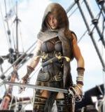 Μυστήριο θηλυκό πειρατών που στέκεται στο κατάστρωμα ενός πλοίου με τις σπάθες μονομαχίας υπό εξέταση διανυσματική απεικόνιση