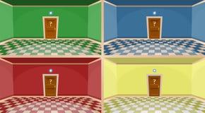 μυστική έννοια πορτών κινούμενων σχεδίων 4 χρωμάτων Κενά δωμάτια με την πόρτα Στοκ φωτογραφία με δικαίωμα ελεύθερης χρήσης