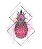 Μυστική απεικόνιση ενός ανανά με ένα σχέδιο περιγράμματος και ρόδινους παφλασμούς watercolor Μαγικό τριγωνικό σχέδιο απεικόνιση αποθεμάτων