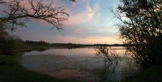 Μυστικό πάρκο λιμνών στο ηλιοβασίλεμα σε Casselberry Φλώριδα Στοκ εικόνα με δικαίωμα ελεύθερης χρήσης