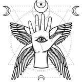 Μυστικό σύμβολο: ανθρώπινο χέρι, μάτι της πρόνοιας, ιερή γεωμετρία ελεύθερη απεικόνιση δικαιώματος