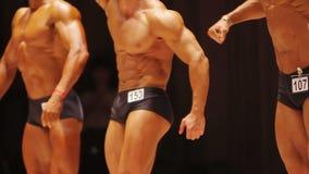 Μυϊκά αρσενικά bodybuilders που καταδεικνύουν τους κατάλληλους οργανισμούς στον ανταγωνισμό ικανότητας απόθεμα βίντεο