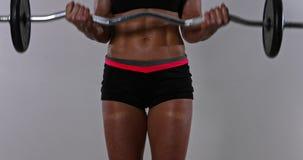 Μυϊκή κατάρτιση γυναικών αθλητών σε μια γυμναστική ή ένα σπίτι crossfit απόθεμα βίντεο