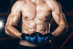 Μυϊκός μαχητής kickbox με τα μπλε γάντια Στοκ φωτογραφίες με δικαίωμα ελεύθερης χρήσης