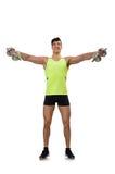 Μυϊκός που σχίζεται bodybuilder με τους αλτήρες Στοκ Εικόνα