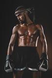 Μυϊκός ταϊλανδικός μαχητής Muay γυμνοστήθων με τα εγκιβωτίζοντας γάντια που κοιτάζουν μακριά Στοκ Εικόνα