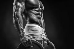 Μυϊκός τύπος bodybuilder που κάνει τις ασκήσεις με το δίσκο αλτήρων Στοκ φωτογραφίες με δικαίωμα ελεύθερης χρήσης