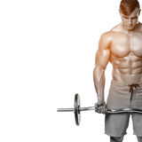 Μυϊκό άτομο που επιλύει κάνοντας τις ασκήσεις με το barbell, ισχυρά αρσενικά γυμνά ABS κορμών, που απομονώνονται πέρα από το άσπρ Στοκ Φωτογραφίες