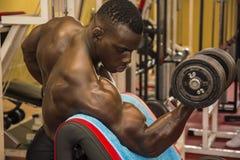 Μυϊκό μαύρο bodybuilder Hunky που επιλύει στη γυμναστική στοκ εικόνες
