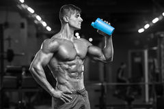 Μυϊκό πόσιμο νερό ατόμων στη γυμναστική, διαμορφωμένος κοιλιακός Ισχυρά αρσενικά γυμνά ABS κορμών, επίλυση στοκ φωτογραφία
