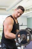 Μυϊκό bodybuilder που ανυψώνει το μεγάλο μαύρο βάρος barbell Στοκ φωτογραφία με δικαίωμα ελεύθερης χρήσης