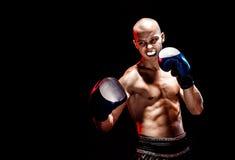 Μυϊκό kickbox ή muay ταϊλανδικό punching μαχητών Στοκ Εικόνα