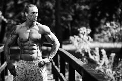 Μυ'ες κάμψης Bodybuilder υπαίθρια στη φύση Στοκ Φωτογραφία