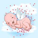 Μωρό αγγέλου ύπνου στο σύννεφο και την αφθονία των καρδιών Στοκ εικόνα με δικαίωμα ελεύθερης χρήσης