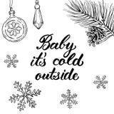 Μωρό αυτό κρύο ` s έξω! Συρμένα χέρι γραφικά στοιχεία και letterin Στοκ φωτογραφία με δικαίωμα ελεύθερης χρήσης