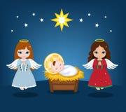 Μωρό Ιησούς και άγγελοι Χριστουγέννων Στοκ Φωτογραφία