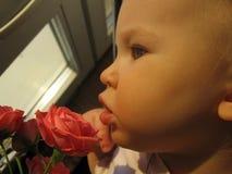 Μωρό και κινηματογράφηση σε πρώτο πλάνο λουλουδιών Στοκ φωτογραφία με δικαίωμα ελεύθερης χρήσης