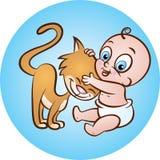 Μωρό με το γατάκι Στοκ Φωτογραφίες