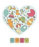 Μωρό Νεογέννητος Καρδιά Χαριτωμένη κάρτα στο doodle και το ύφος κινούμενων σχεδίων διάνυσμα στοκ εικόνες