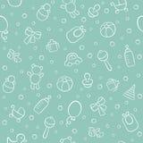 Μωρό Νεογέννητος Χαριτωμένο άνευ ραφής σχέδιο στο doodle και το ύφος κινούμενων σχεδίων στοκ φωτογραφία