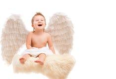 Μωρό νηπίων με τα φτερά αγγέλου Στοκ Φωτογραφία