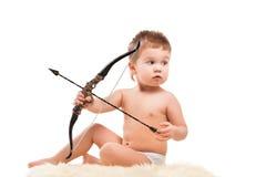 Μωρό νηπίων με το τόξο Στοκ εικόνα με δικαίωμα ελεύθερης χρήσης