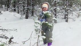 Μωρό παιχνιδιών στα χειμερινά ξύλα απόθεμα βίντεο