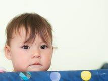 Μωρό που στέκεται σε Playpen Στοκ Εικόνες