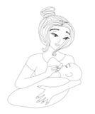 μωρό που ταΐζει τη μητέρα τη&sigm Στοκ Εικόνες