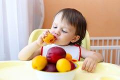 μωρό που τρώει τους καρπ&omicro Στοκ Φωτογραφία