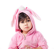 Μωρό σε μια συνήθεια λαγουδάκι στοκ εικόνα με δικαίωμα ελεύθερης χρήσης