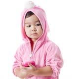 Μωρό σε μια συνήθεια λαγουδάκι στοκ εικόνες με δικαίωμα ελεύθερης χρήσης