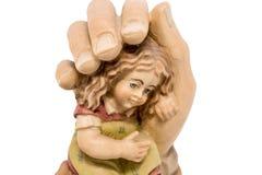 Μωρό στην ασφάλεια, προστασία Θεών που απομονώνεται Στοκ εικόνα με δικαίωμα ελεύθερης χρήσης