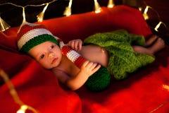 Μωρό στο παχνί στα Χριστούγεννα Κινηματογράφηση σε πρώτο πλάνο Στοκ Εικόνα