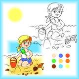 Μωρό στο χρωματίζοντας βιβλίο άμμου Στοκ Εικόνες